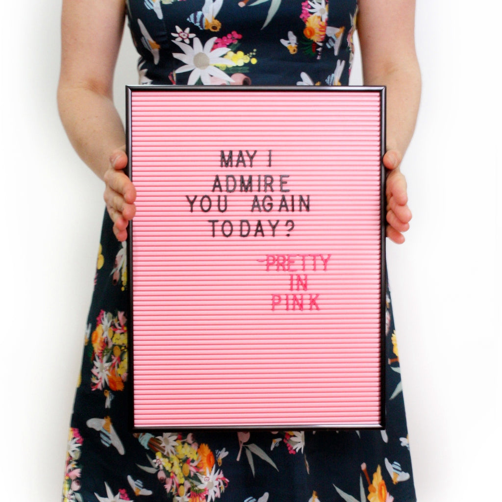 Pink Letterboard in Black Frame - Retro Kids
