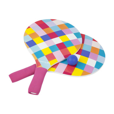 Retro Bright Check Outdoor Bat & Ball Set