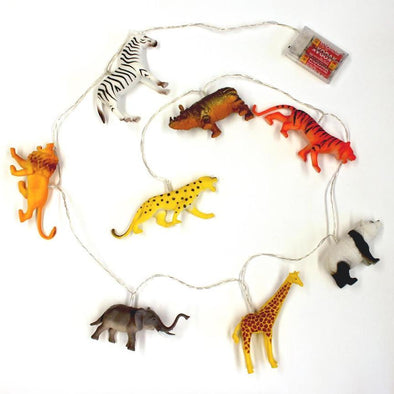 String Lights with Safari Animals - Retro Kids
