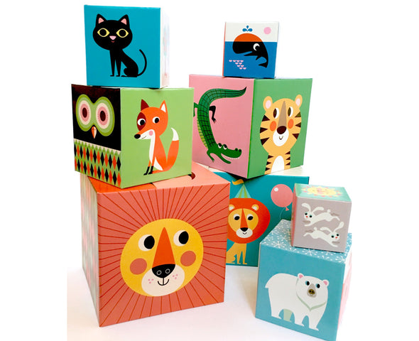 Retro Animals Set of 10 Stacking Blocks