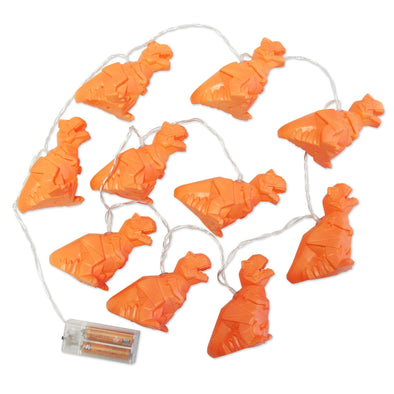 Orange T-Rex Dinosaur String Lights - Retro Kids