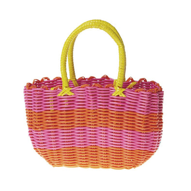 Bright Stripe Woven Basket Bag