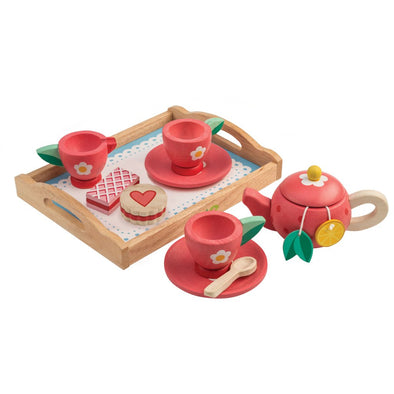 Floral Wooden Toy Tea Set
