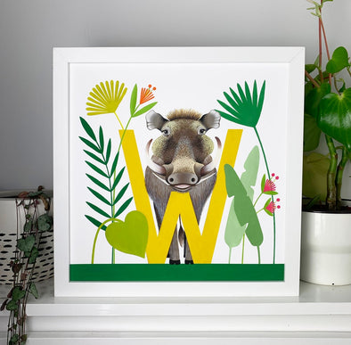 W for Warthog Alphabet Print