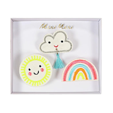 Weather Embroidered Brooches - Retro Kids