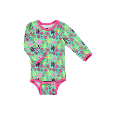 Long Sleeve Green / Pink Wild Flower Babygrow