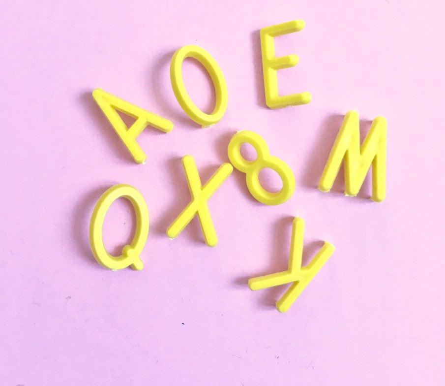 Yellow 1.9cm Letter Set for Letterboard - Retro Kids