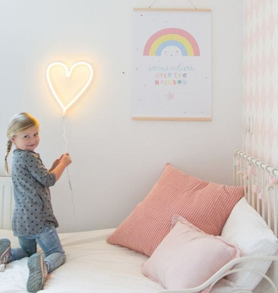Neon style Yellow Heart Light - Retro Kids