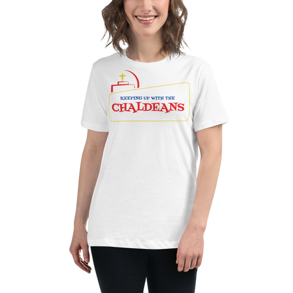 WHITE Ladies-Premium-Short-Sleeve T- Shirt with Red Logo
