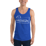BLUE  Unisex Tank Top T-Shirt with White Logo