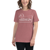 MAUVE Ladies-Premium-Short-Sleeve T- Shirt with White Logo