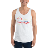 WHITE  Unisex Tank Top T-Shirt with Red Logo