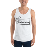 WHITE  Unisex Tank Top T-Shirt with Black Logo