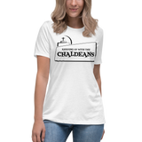 WHITE Ladies-Premium-Short-Sleeve T- Shirt with Black Logo