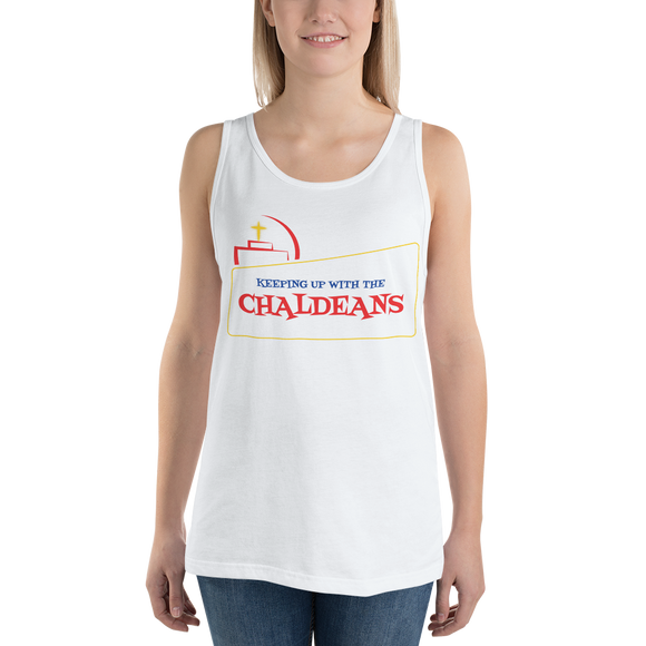 WHITE  Women's Jersey Tank Top T-Shirt with Red Logo