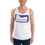 WHITE  Unisex Tank Top T-Shirt with White Logo