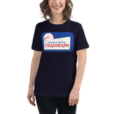 NAVY Ladies-Premium-Short-Sleeve T- Shirt with Dark Logo