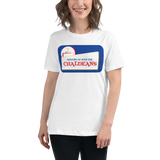 WHITE Ladies-Premium-Short-Sleeve T- Shirt with White Logo
