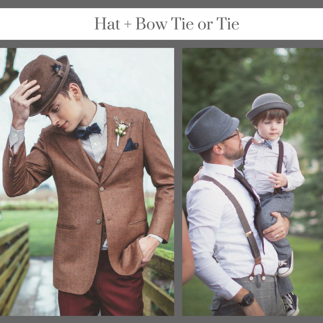 Hat and bow tie groom