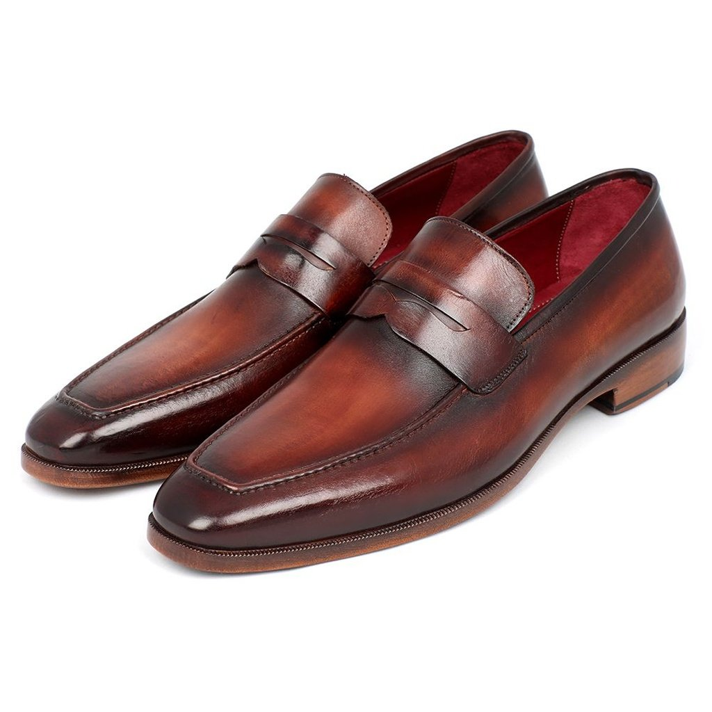 Men's Penny Loafer Bordeaux and Brown Calfskin