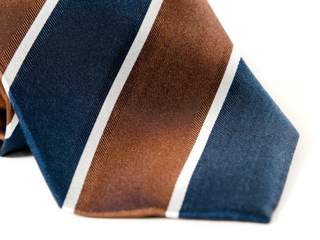 Navy and Brown Striped Tie (close up)