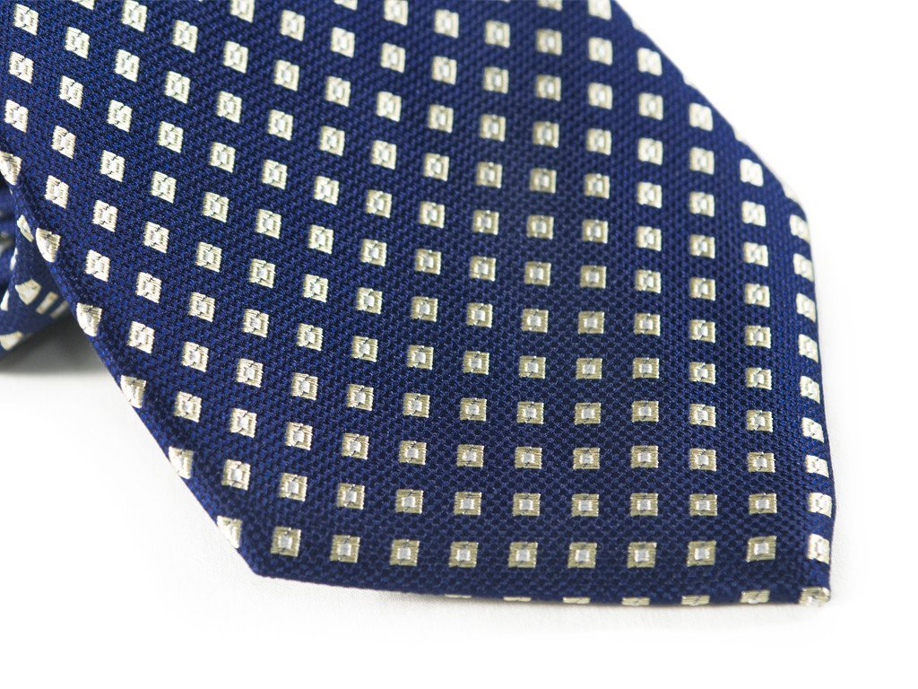 Navy Diamond Patterned Tie (close up)