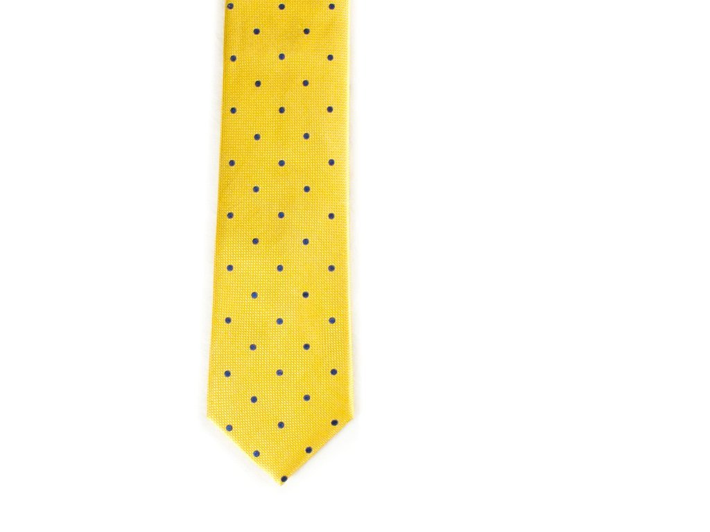 Yellow and Navy Polka Dot Tie