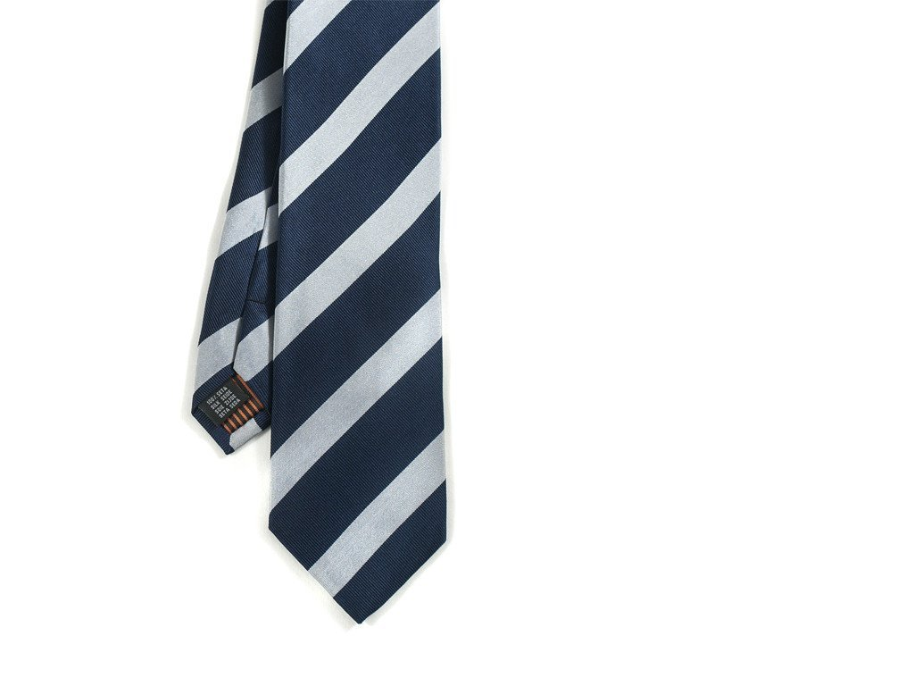 Navy and Gray Striped Tie