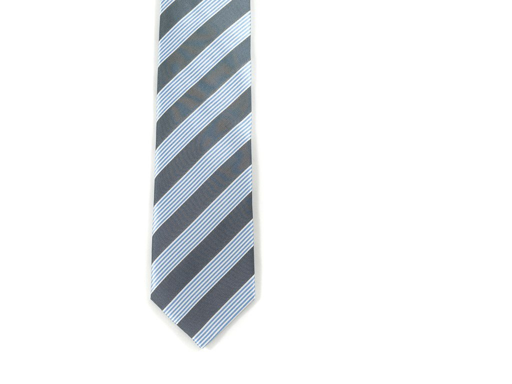 Blue and Gray Striped Tie