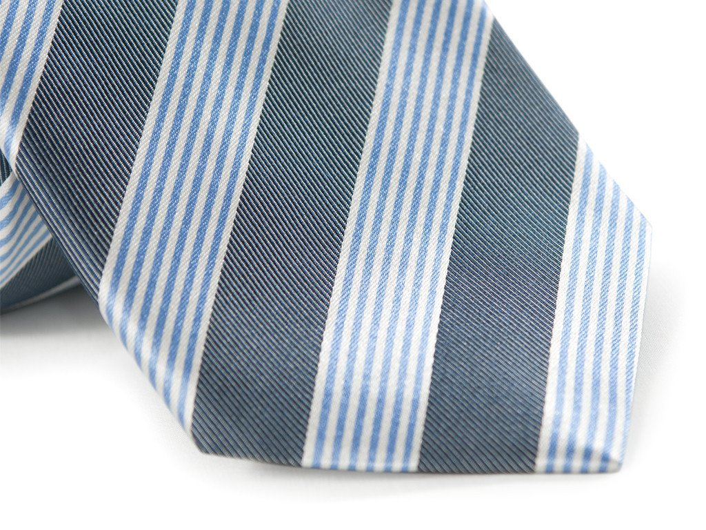 Blue and Gray Striped Tie (Close up)