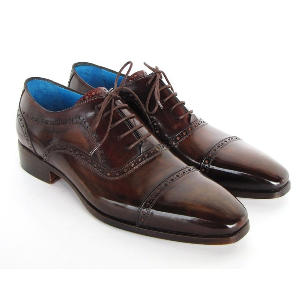 Men's Captoe Oxfords Anthracite Brown Leather