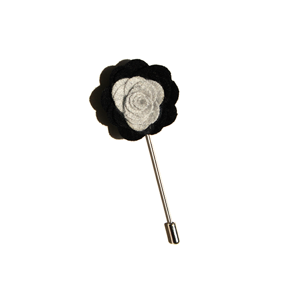Black & Gray Lapel Flower