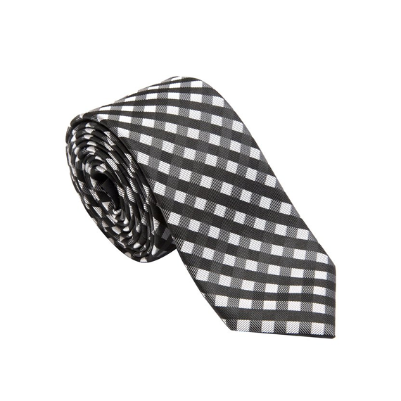 Black Plaid Tie - Patyrns