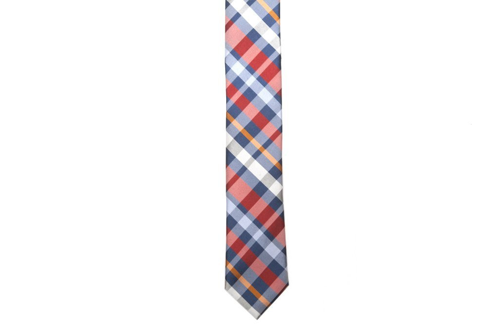 Orange Plaid Necktie - Front
