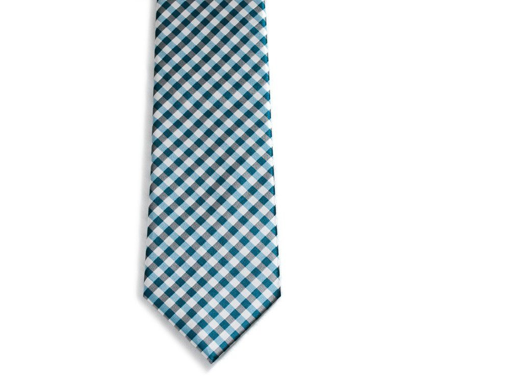 Blue Checkers Necktie - Front