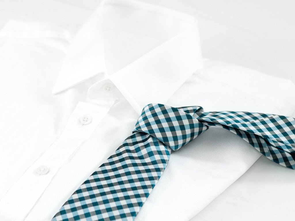 Blue Checkers Necktie - Shirt