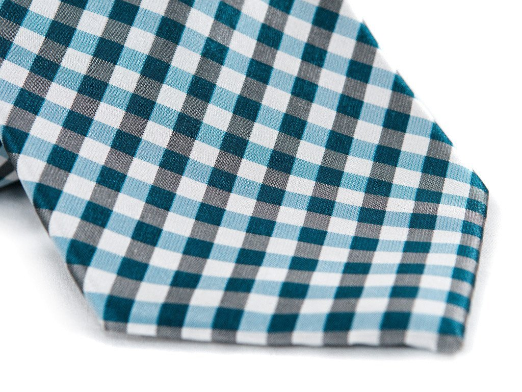 Blue Checkers Necktie - Close up