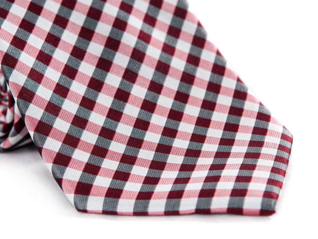 Red Checkers Necktie - Close up