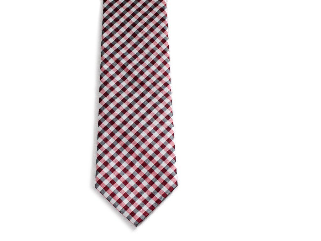 Red Checkers Necktie - Front