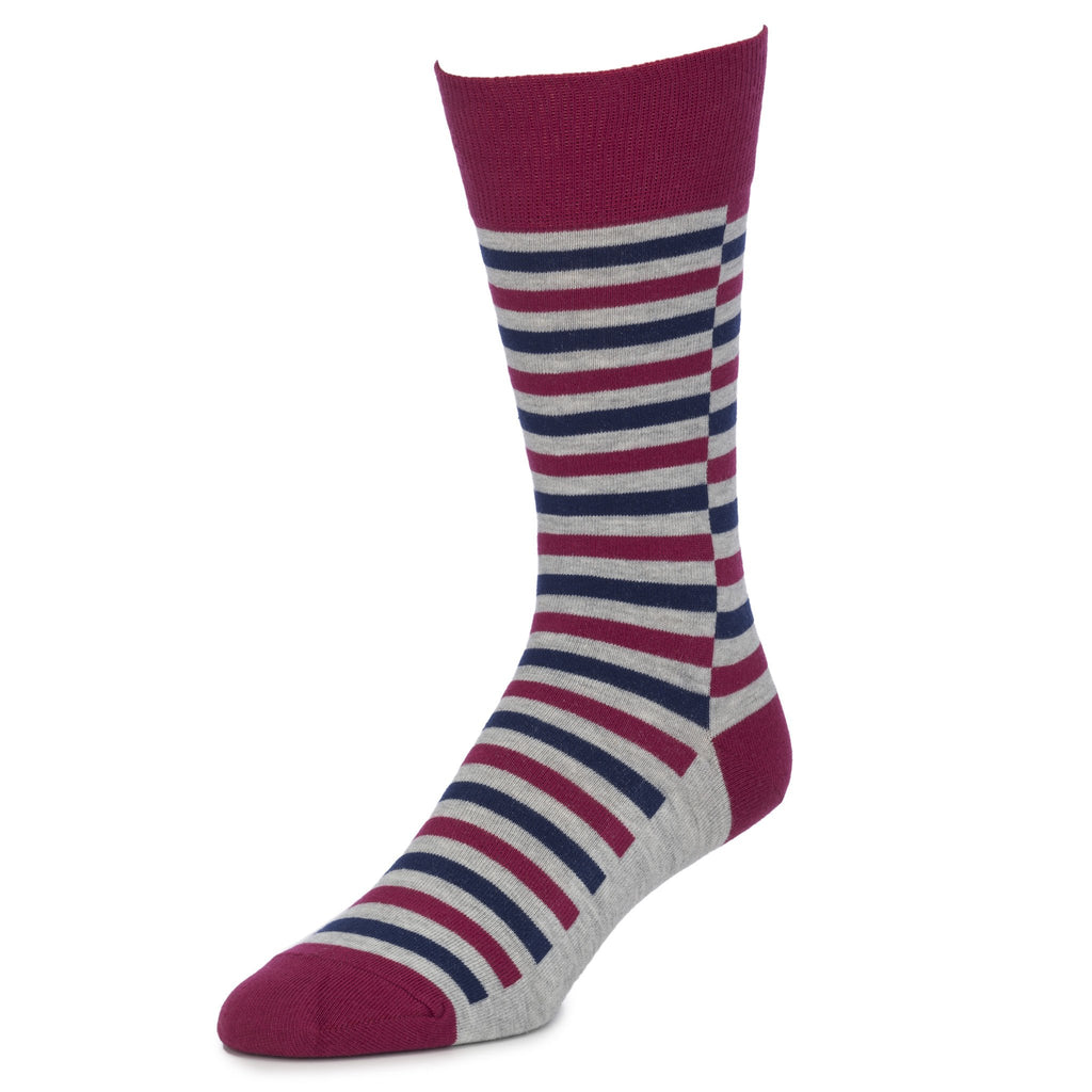 Burgundy Striped Socks for Men