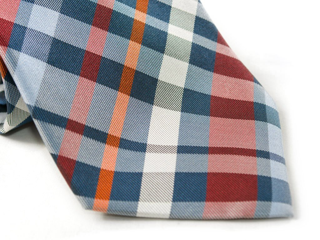 Orange Plaid Necktie - Close