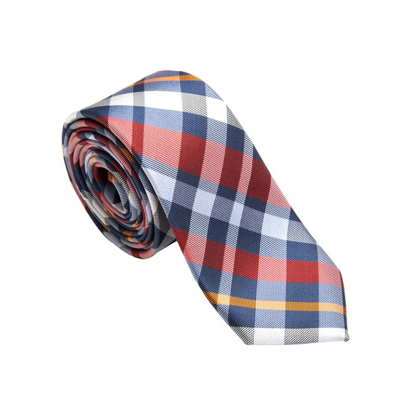 Orange Plaid Necktie - Patyrns