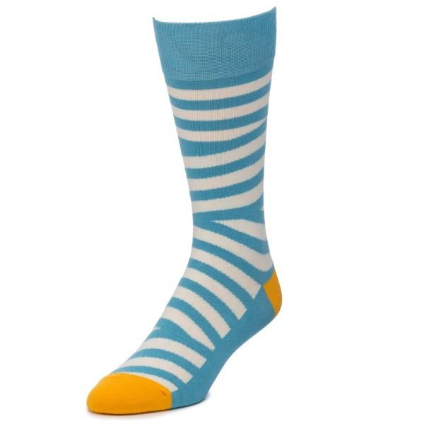 Blue and White Striped Socks - Patyrns