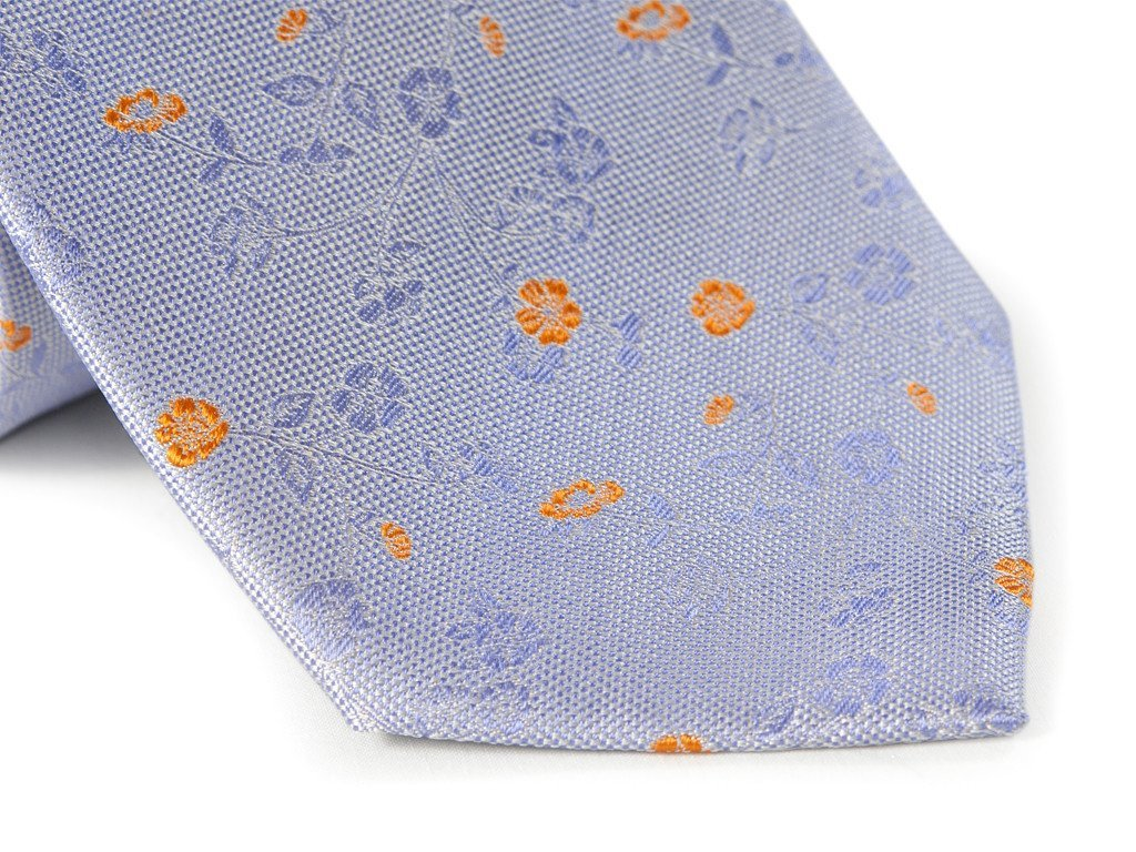 Purple Floral Necktie - Close Up
