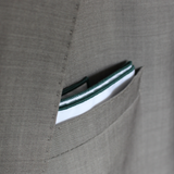 White Pocket Square with Green Border