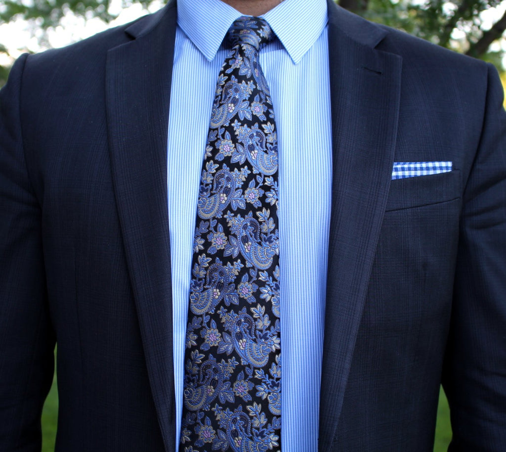 Navy Gingham Pocket Square