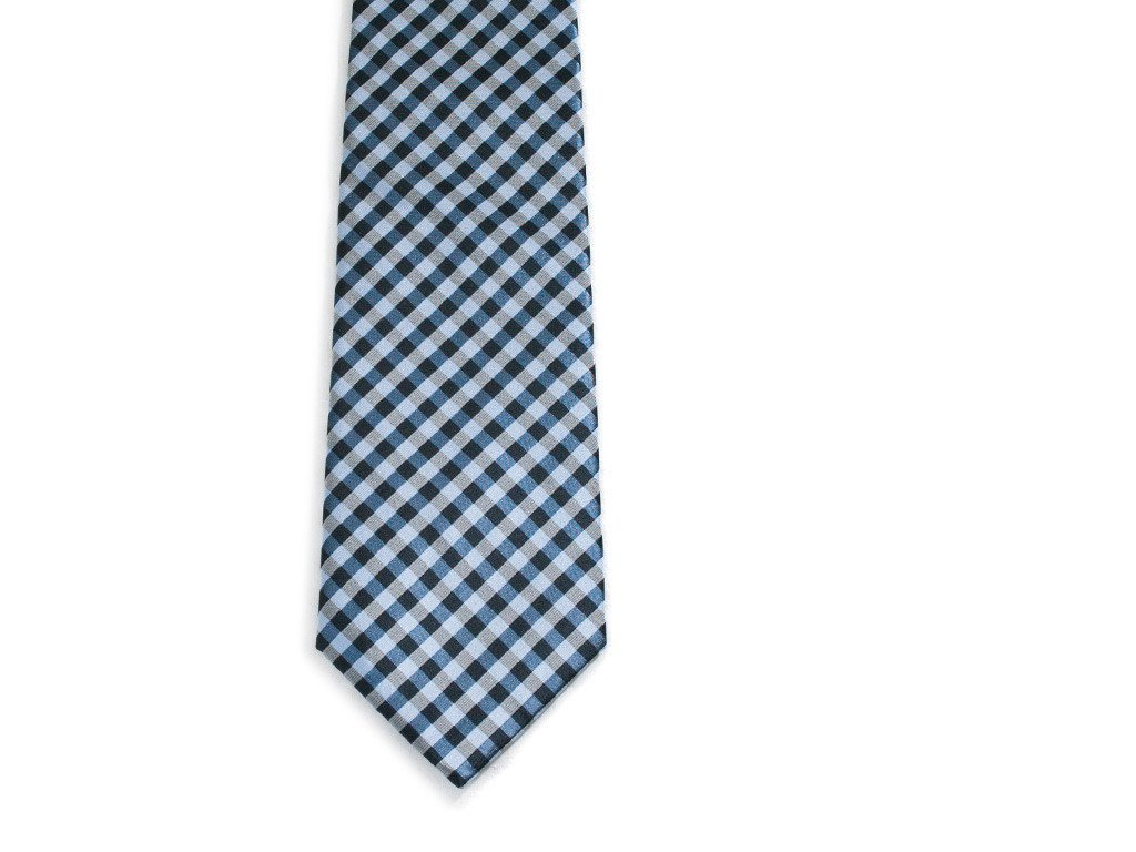 Teal Checkers Necktie - Front