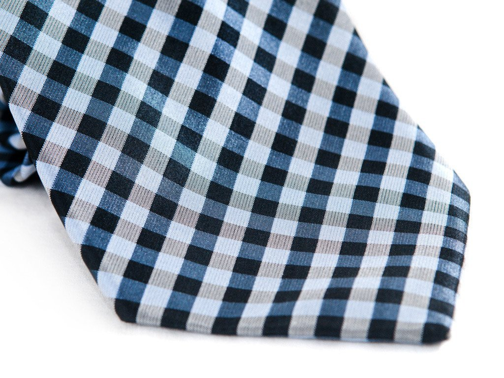 Teal Checkers Necktie - Close Up
