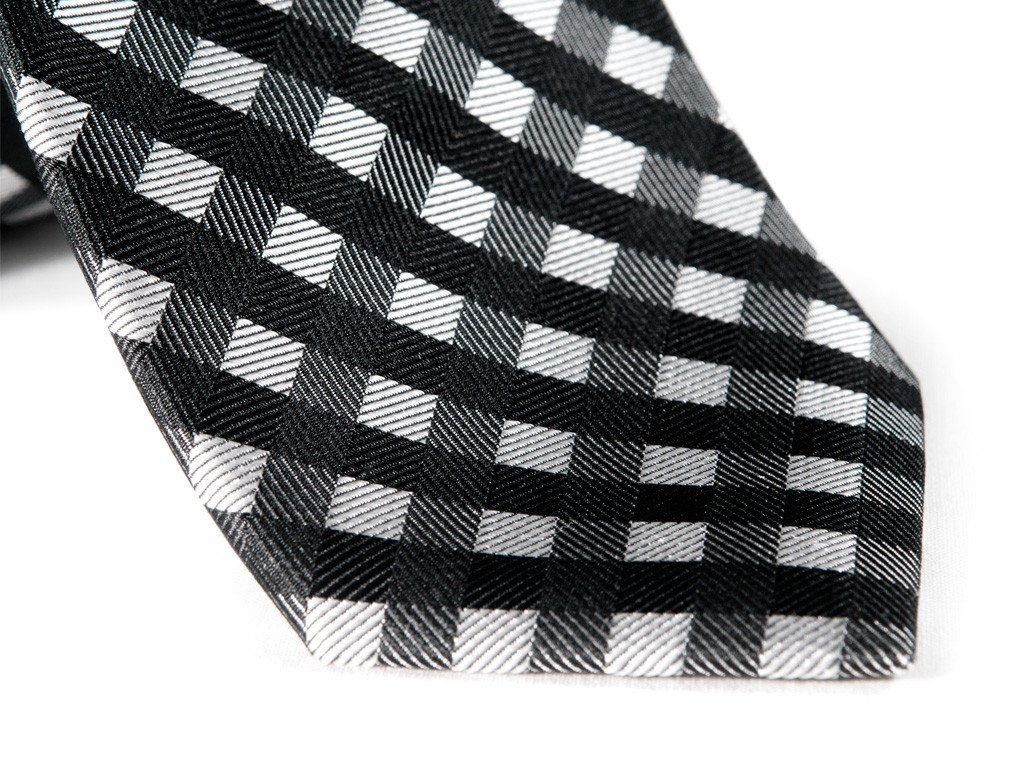 Black Plaid Tie - Close Up