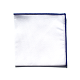 White Pocket Square with Navy Border